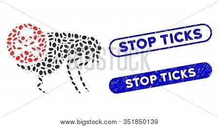 Mosaic Flea Pesticide And Distressed Stamp Seals With Stop Ticks Phrase. Mosaic Vector Flea Pesticid
