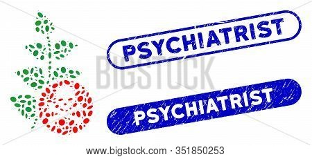 Mosaic Herbicide Toxin And Corroded Stamp Seals With Psychiatrist Caption. Mosaic Vector Herbicide T