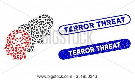 Mosaic Kill All Humans And Distressed Stamp Seals With Terror Threat Text. Mosaic Vector Kill All Hu