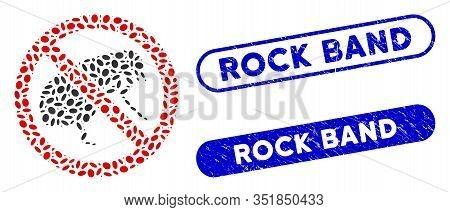 Mosaic No Flea And Rubber Stamp Seals With Rock Band Caption. Mosaic Vector No Flea Is Created With