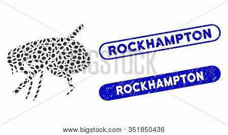 Mosaic No Fleas And Distressed Stamp Seals With Rockhampton Text. Mosaic Vector No Fleas Is Formed W