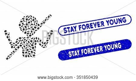 Collage No Guru And Corroded Stamp Seals With Stay Forever Young Caption. Mosaic Vector No Guru Is D