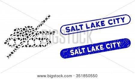 Mosaic No Tank And Rubber Stamp Watermarks With Salt Lake City Text. Mosaic Vector No Tank Is Formed