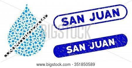 Mosaic No Water Drop And Rubber Stamp Watermarks With San Juan Phrase. Mosaic Vector No Water Drop I