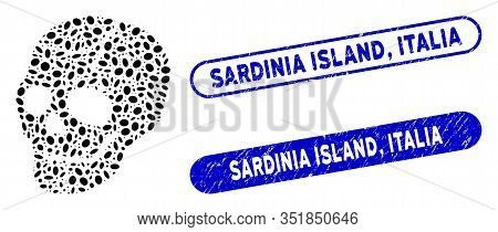 Mosaic Old Skull And Corroded Stamp Seals With Sardinia Island, Italia Caption. Mosaic Vector Old Sk