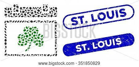 Mosaic Saint Patrick Calendar Day And Distressed Stamp Seals With St. Louis Text. Mosaic Vector Sain