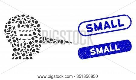 Mosaic Shopping Scammer And Rubber Stamp Seals With Small Text. Mosaic Vector Shopping Scammer Is De