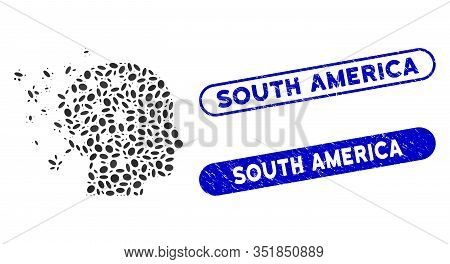 Mosaic Star Mind And Corroded Stamp Seals With South America Phrase. Mosaic Vector Star Mind Is Crea