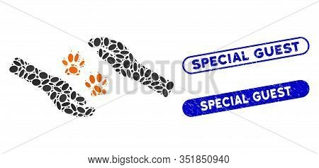Mosaic Tiger Care Hands And Distressed Stamp Seals With Special Guest Text. Mosaic Vector Tiger Care