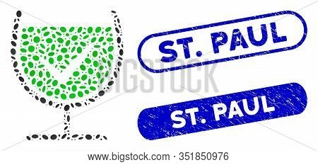 Mosaic True Drink Glass And Grunge Stamp Seals With St. Paul Caption. Mosaic Vector True Drink Glass