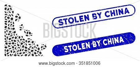 Mosaic Unstable Stones And Grunge Stamp Seals With Stolen By China Text. Mosaic Vector Unstable Ston
