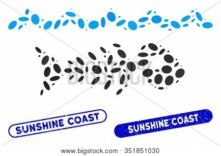 Mosaic Water Pollution And Grunge Stamp Seals With Sunshine Coast Caption. Mosaic Vector Water Pollu