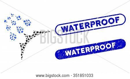 Mosaic Water Proof And Distressed Stamp Seals With Waterproof Text. Mosaic Vector Water Proof Is Com