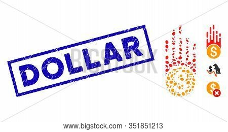 Mosaic Rush Falling Dollar And Corroded Rectangular Stamp Seal With Dollar Phrase. Mosaic Vector Rus