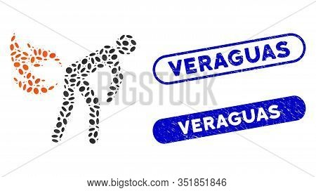 Mosaic Fire Farting And Corroded Stamp Seals With Veraguas Caption. Mosaic Vector Fire Farting Is Cr