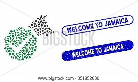 Collage For Dogs Only And Grunge Stamp Seals With Welcome To Jamaica Caption. Mosaic Vector For Dogs
