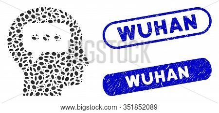 Mosaic Head Opinion And Corroded Stamp Seals With Wuhan Text. Mosaic Vector Head Opinion Is Formed W