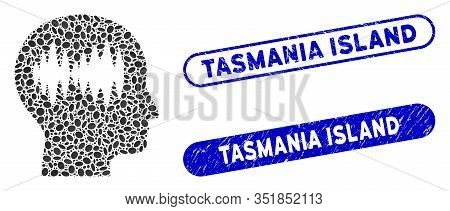 Mosaic Brain Waves And Rubber Stamp Seals With Tasmania Island Text. Mosaic Vector Brain Waves Is De