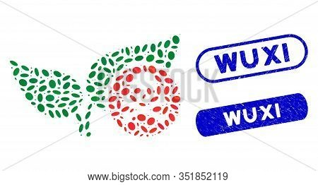 Mosaic Herbicide And Grunge Stamp Seals With Wuxi Caption. Mosaic Vector Herbicide Is Composed With