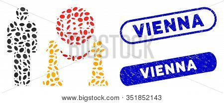 Mosaic For Adults Only And Grunge Stamp Seals With Vienna Text. Mosaic Vector For Adults Only Is Com