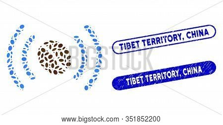 Mosaic Coffee Wifi Spot And Rubber Stamp Seals With Tibet Territory, China Caption. Mosaic Vector Co
