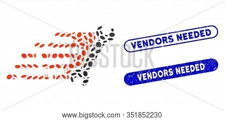 Mosaic Fast Repair And Corroded Stamp Watermarks With Vendors Needed Phrase. Mosaic Vector Fast Repa