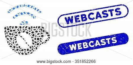 Mosaic Coffee Wifi Source And Distressed Stamp Seals With Webcasts Caption. Mosaic Vector Coffee Wif