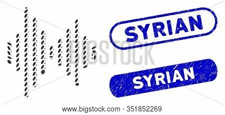 Mosaic Audio Signal And Grunge Stamp Seals With Syrian Text. Mosaic Vector Audio Signal Is Designed