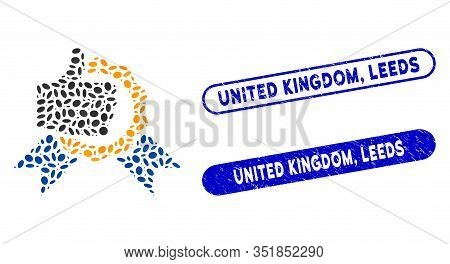 Mosaic Excellent And Distressed Stamp Watermarks With United Kingdom, Leeds Phrase. Mosaic Vector Ex