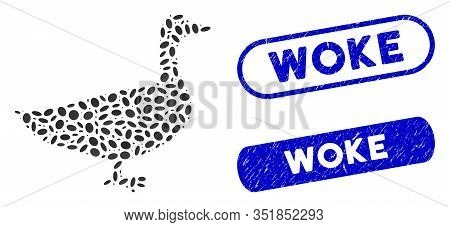 Mosaic Goose And Corroded Stamp Seals With Woke Text. Mosaic Vector Goose Is Composed With Random El