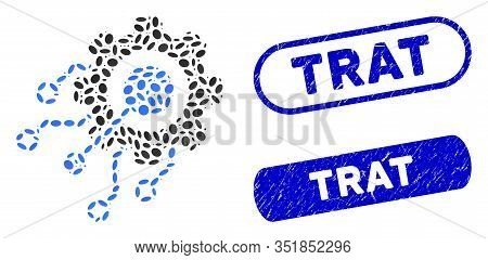 Collage Digital Integration Gear And Grunge Stamp Seals With Trat Caption. Mosaic Vector Digital Int
