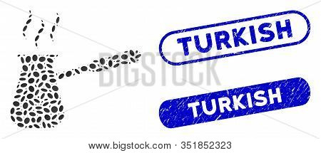 Collage Turkish Coffee And Rubber Stamp Seals With Turkish Text. Mosaic Vector Turkish Coffee Is Cre