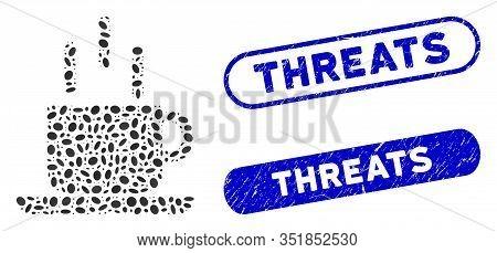 Mosaic Coffee Mug And Distressed Stamp Seals With Threats Caption. Mosaic Vector Coffee Mug Is Compo