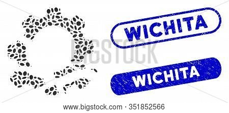 Mosaic Gear Destruction And Rubber Stamp Seals With Wichita Phrase. Mosaic Vector Gear Destruction I