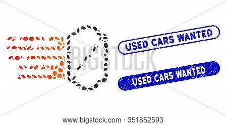 Mosaic Express Ticket And Grunge Stamp Seals With Used Cars Wanted Caption. Mosaic Vector Express Ti