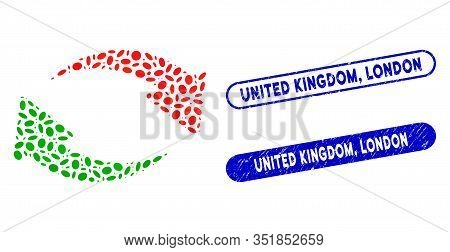 Collage Exchange And Rubber Stamp Seals With United Kingdom, London Phrase. Mosaic Vector Exchange I