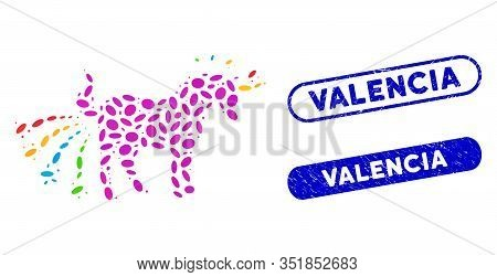 Mosaic Farting Unicorn And Grunge Stamp Seals With Valencia Phrase. Mosaic Vector Farting Unicorn Is