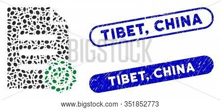 Mosaic Confirmation Document And Rubber Stamp Seals With Tibet, China Text. Mosaic Vector Confirmati