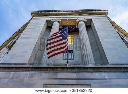 Facade Flags Robert F Kennedy Justice Department Building Pennsylvania Avenue Washington Dc Complete