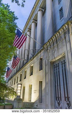 Us Flags Facade Door Robert F Kennedy Justice Department Building Pennsylvania Avenue Washington Dc