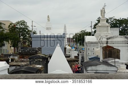 New Orleans, Louisiana, U.s.a - February 4, 2020 - The White Cemetery On Rampart Street, Including T