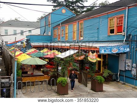 New Orleans, Louisiana, U.s.a - February 4. 2020 - The Dat Dog, Hot Dog Restaurant By The Garden Dis