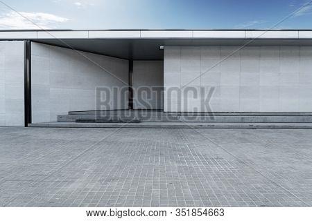 empty floor with modern building