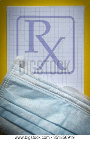 Rx Symbol On A Pharmacy Blank With A Protective Face Mask