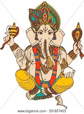 Holy Seated  Ganesha Hindu Lord Faith Mythology Bless God Illustration  Mouse