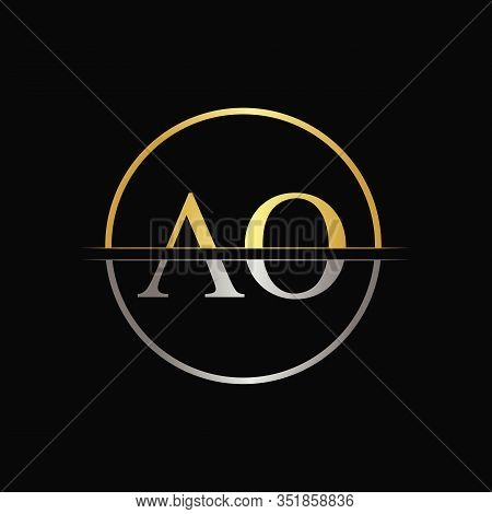 Initial Circle AO Letter With Modern Typography Vector Template. Creative Abstract Letter AO Logo Design