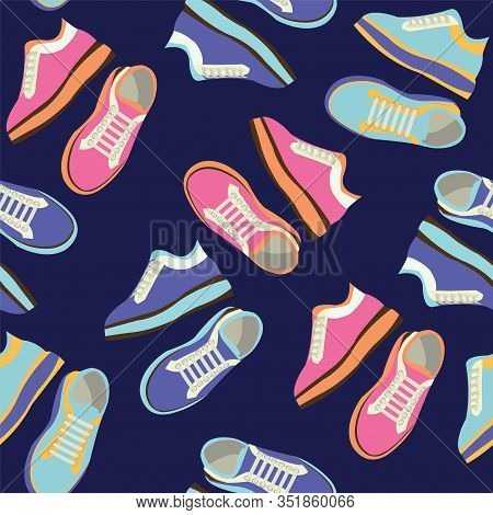 Fashion Sneakers Shoes Vector Seamless Pattern. Fitness Sneakers Shoes For Training, Running Shoe Il