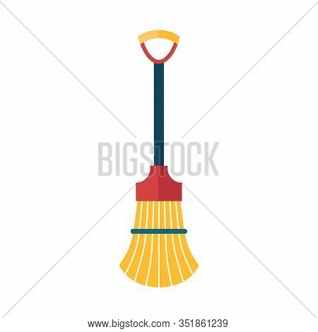 Broom Made From Twigs On A Long Wooden Handle. Vector Illustration. Tool For Cleaning Isolated On Wh