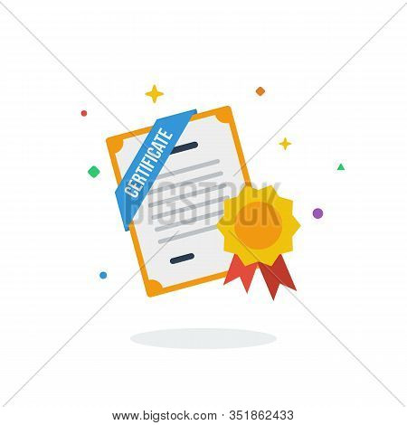 Unique Flying Certificate Graduation Education Graduate Flat Badge Icon Vector For Website And Any D