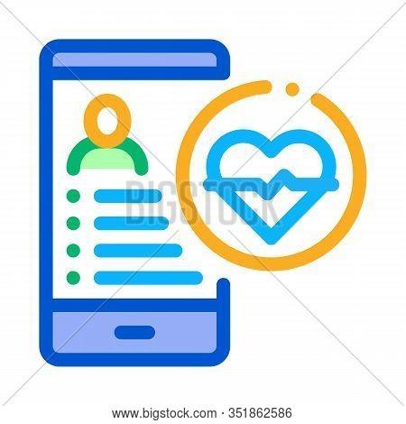 Heart Rhythm Icon Vector. Outline Heart Rhythm Sign. Isolated Contour Symbol Illustration